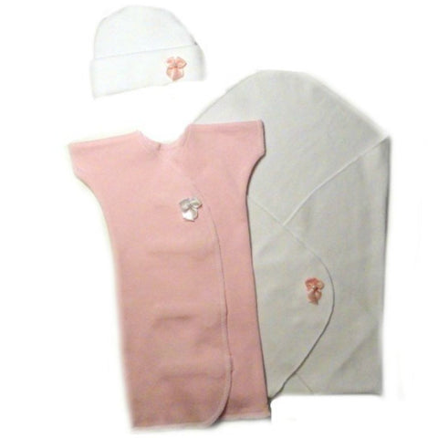Baby Girls' Preemie Burial Gown and Blanket Set Sized For Preemie and Newborn Babies