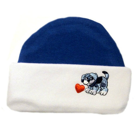 bcd78307870 Baby Boy s Blue Puppy Capped Hat. Premature Babies
