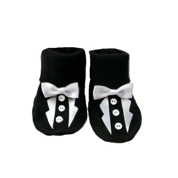 Baby Boys' Black Tuxedo Crib Shoe, Very Handsome for Preemie and Newborn Babies