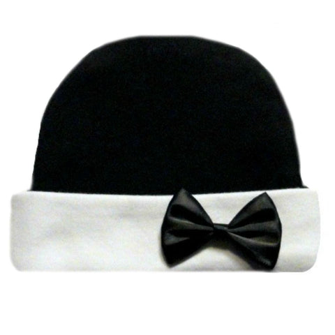 Unisex Baby White and Black Hat for Preemie, Newborn and Toddlers