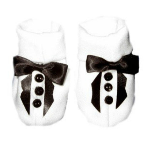 Baby Boys' White Tuxedo Crib Shoe with Black Lapels Sized For Preemie and Newborn Babies