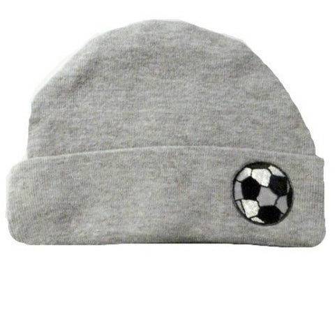 Baby Boy Preemie Newborn Heather Gray Soccer Ball Hat, Premature Babies, Micro Preemie Infant.