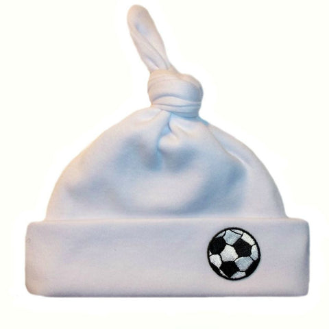 Baby Boy White Knotted Preemie Newborn Hat with Soccer Balls. For premature babies and infants.