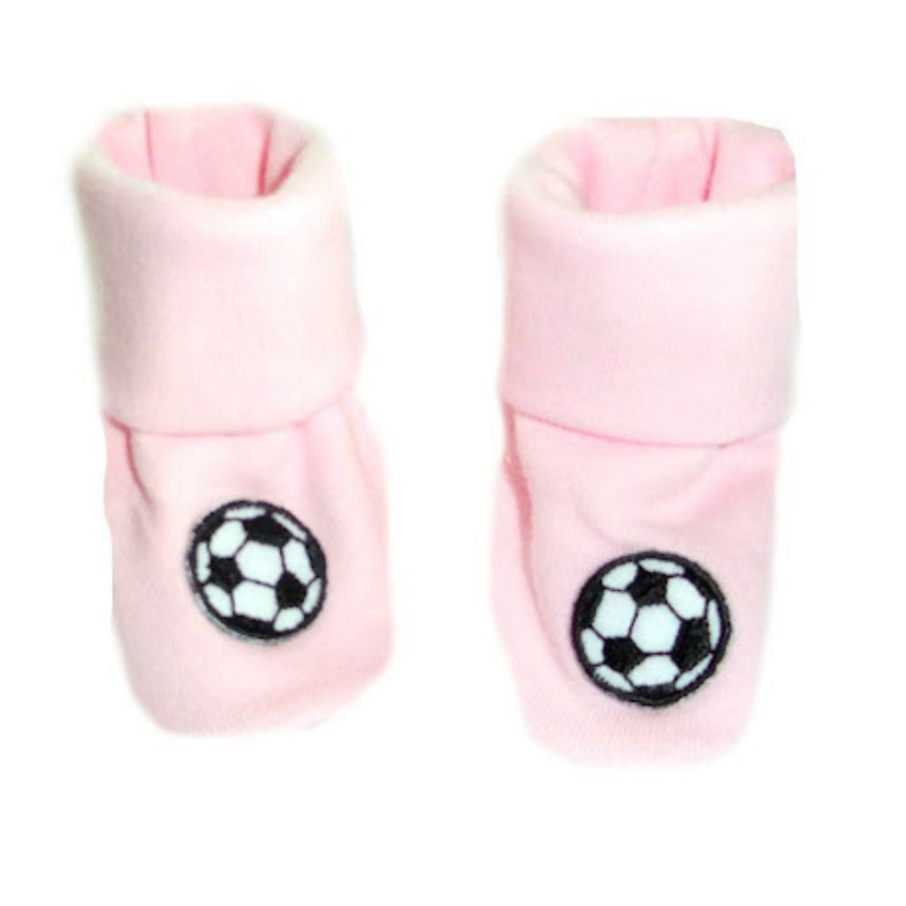 8e2ed6ff4af Baby Girls  Pink Shoes with Soccer Balls Sized For Preemie and Newborn  Babies
