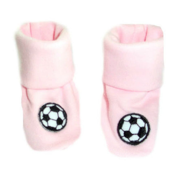 Baby Girls' Pink Shoes with Soccer Balls Sized For Preemie and Newborn Babies