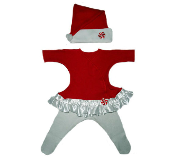 Baby Girls' Red Peppermint Santa Christmas Dress Sized For Preemie and Newborn Babies