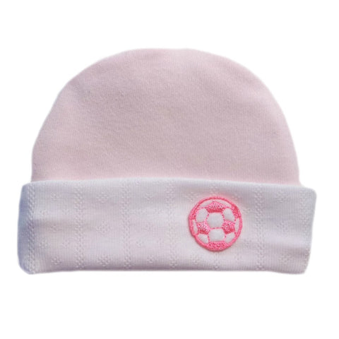 Light Pink Neon Soccer Ball Baby Hat