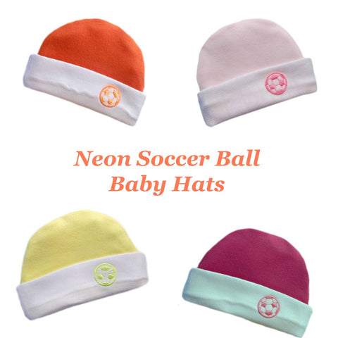 Neon Soccer Ball Baby Hats - 4 Colors