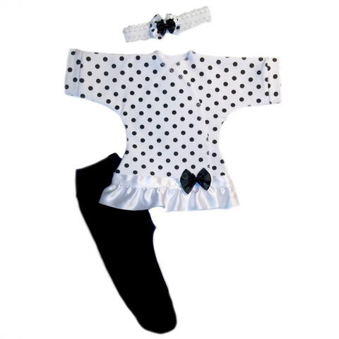 Newborn and Preemie Baby Girl Black Polka Dot Dress