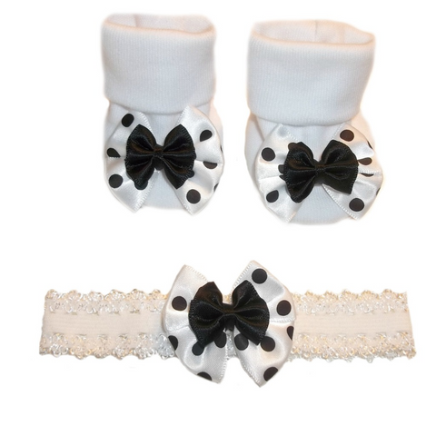 Baby Girls' Black Polka Dot Fun Headband and Booties