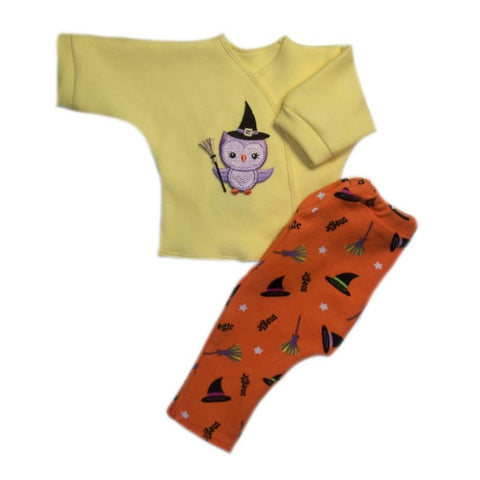 Hoot Owl Witch Halloween Baby Shirt and Leggings