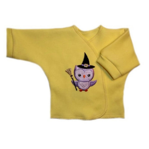 Hoot Owl Witch Yellow Halloween Long Sleeve Baby Shirt