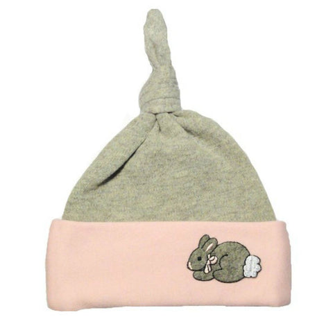 Baby Girls' Pink & Gray Bunny Knotted Hat Sized For Preemie and Newborn Babies