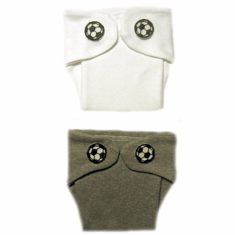 Baby Boys' White or Gray Soccer Ball Diaper Cover Sized For Preemie and Newborn Babies
