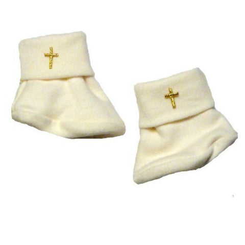 Unisex Baby Ivory Booties with Crosses Sized for Preemie and Newborn Babies