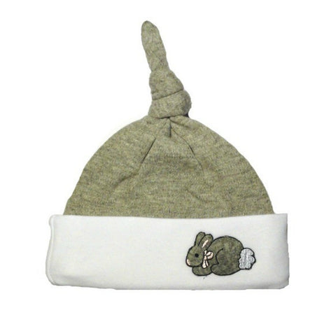 Unisex Baby White & Gray Easter Bunny Knotted Hat