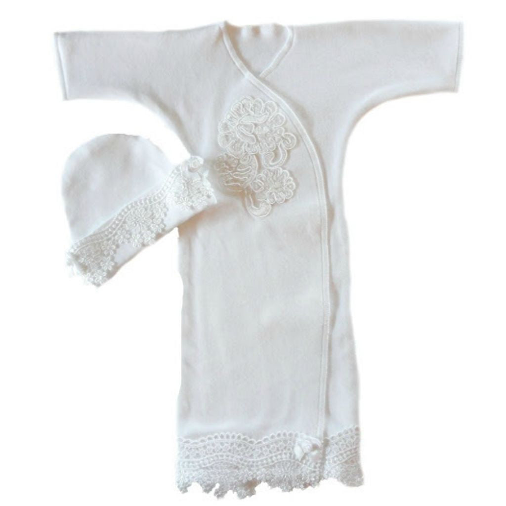 Baby Girls White Lace Burial Bereavement Gown   Jacqui\'s Preemie Pride