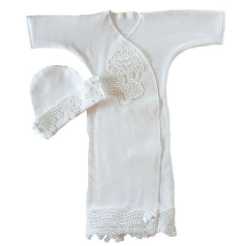 Beautiful Newborn and Preemie White Lace Gown and Hat.