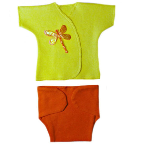 Baby Girls' Orange Dragonfly Diaper Set Sized For Preemie and Newborn Babies