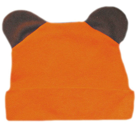 Baby Boys' Orange Bear Hat with Ears Sized For Preemie and Newborn Babies