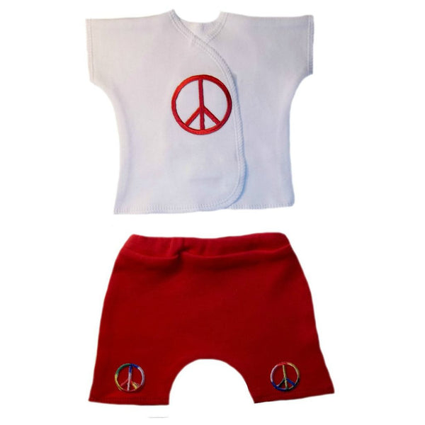 Newborn and Preemie Unisex Baby Sumer Peace Shorts Clothing Set