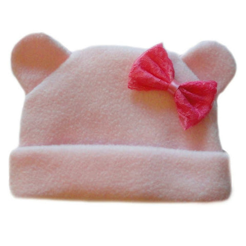 Baby Girls' Pink Fleece Hat with Ears and Bow Sized For Preemie and Newborn Babies