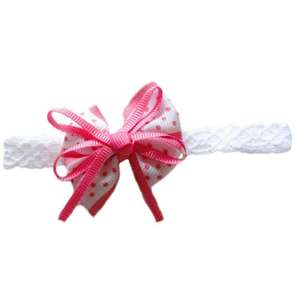 Baby Girls' Pink Polka Dot Bow Headband Sized For Infant And Newborn Babies