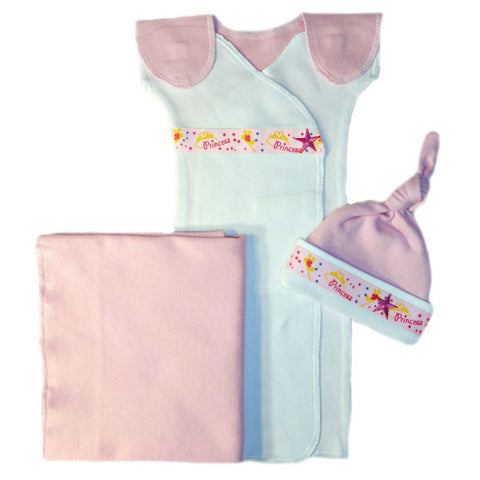 Baby Girls' Pink Princess Gown Set Sized for Preemie and Newborn Babies