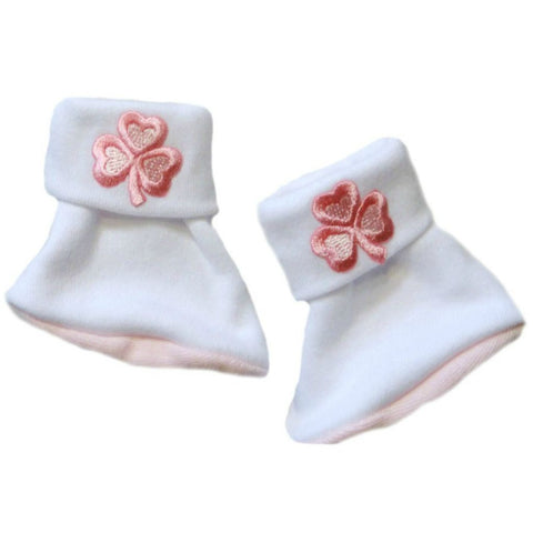Baby Girls' Precious Pink Shamrock Irish Booties Sized For Preemie and Newborn Babies