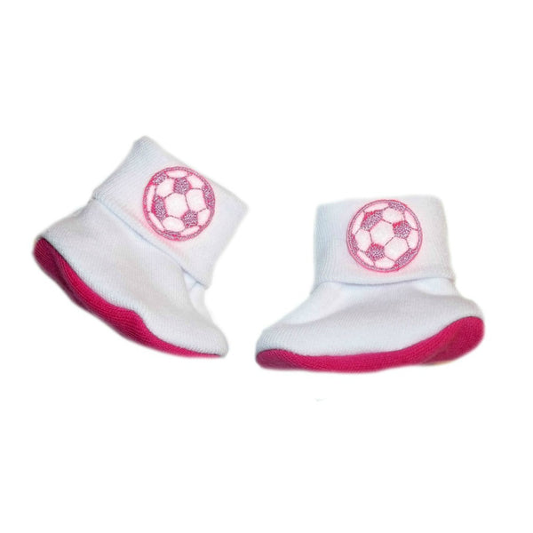 Newborn and Preemie Baby Girls' Neon Pink Soccer Ball Booties