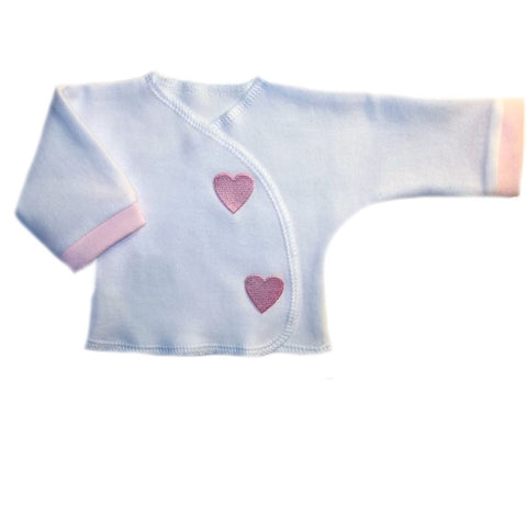 Baby Girl White Long Sleeve Shirt with Pink Hearts