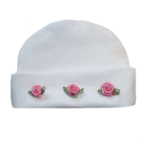 Baby Girls' Pretty Pointelle Hat with Pink Roses for Preemies and Newborns