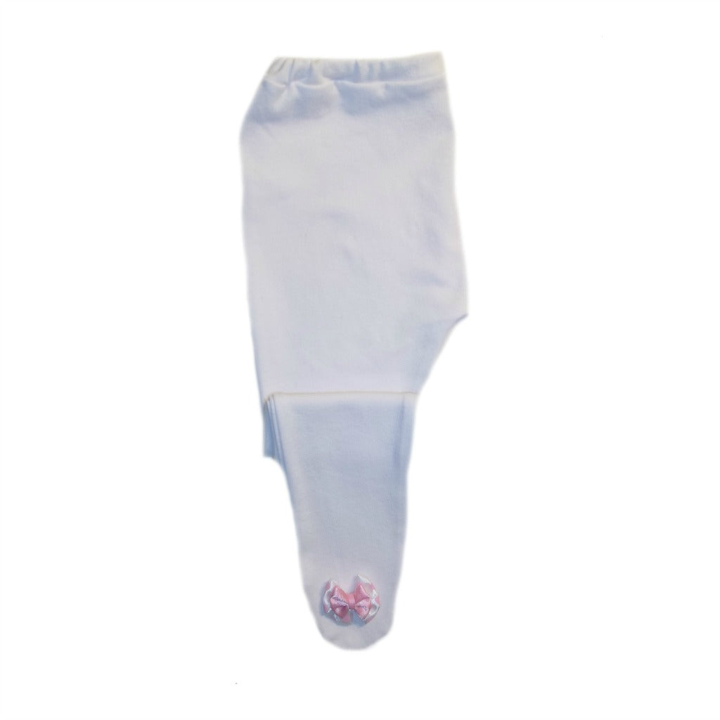 a45e50a91 White Baby Tights with Pink Polka Dot Bows   Jacqui's Preemie Pride