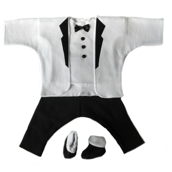 Baby Boys' Debonair White & Black Tuxedo Suit Sized for Preemie and Newborn Babies