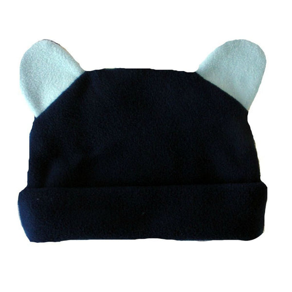 Baby Boys' Fleece Navy Blue Hat with Ears Sized for Preemie and Newborn Babies