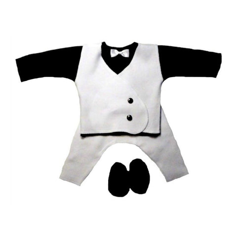 Baby Boy's Black & White Suit with White Vest. Available from Tiny Infant and preemie sizes to newborn as well.