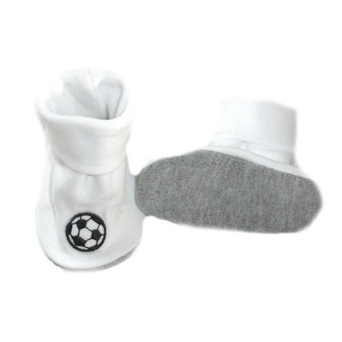 Baby Boys' White Crib Shoes with Soccer Balls Sized For Preemie and Newborn Babies