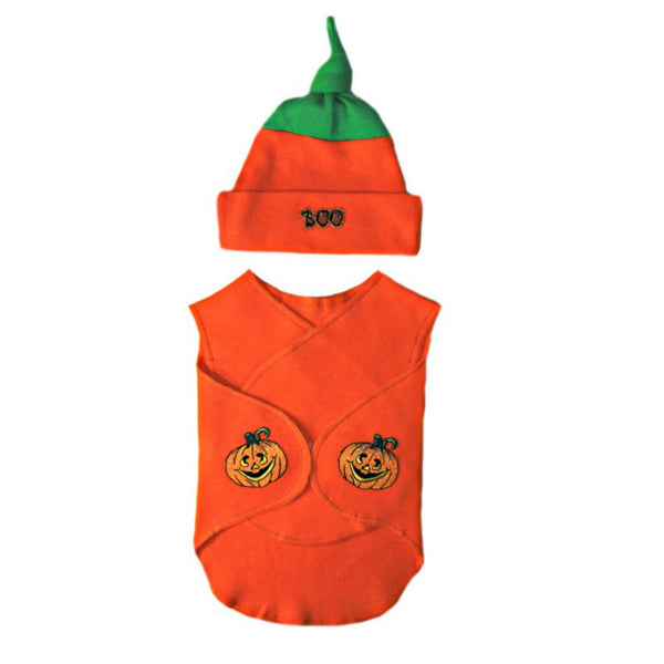 Preemie Unisex Baby Halloween Pumpkin NICU Clothing Wrap and Hat.