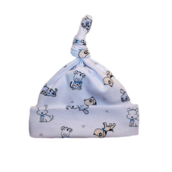 Puppy Friends Knotted Baby Boy Hat