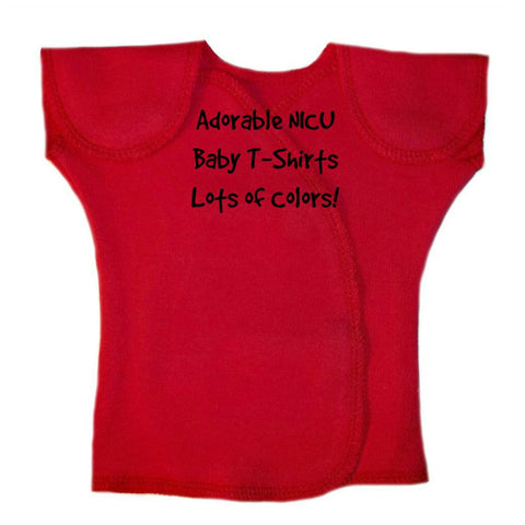 Unisex Baby NICU Solid Color Short Sleeve Shirts - Lots of Colors! Sized For Preemie and Newborn Babies