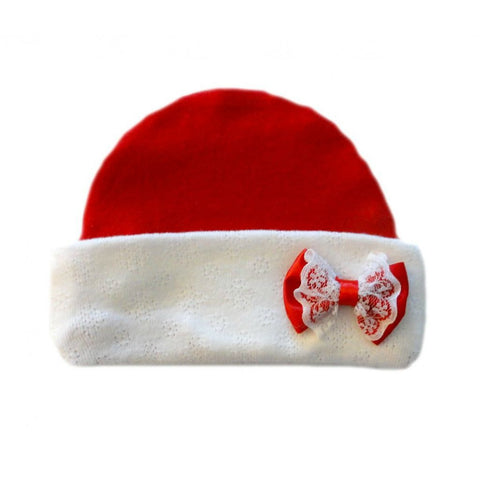 Newborn and Preemie Baby Girl Red Hat with Lace Bow. Perfect for Christmas or Valentine's Day