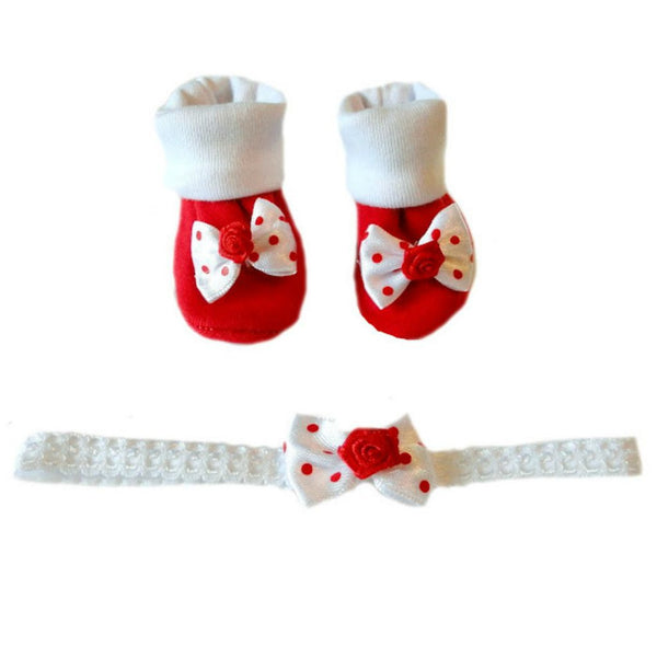 Baby Girls' Red Polka Dots Booties and Headband Set Sized For Preemie and Newborn Babies