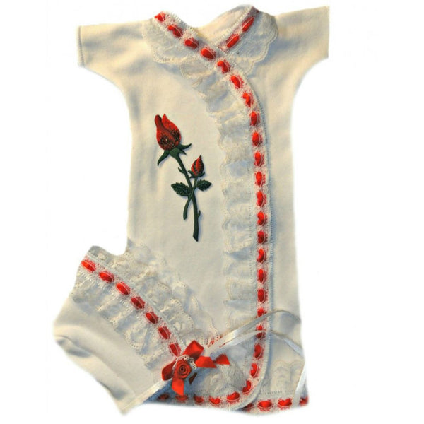 Baby Girls' Red Rose Gown and Bonnet Set Sized For Preemie and Newborn Babies