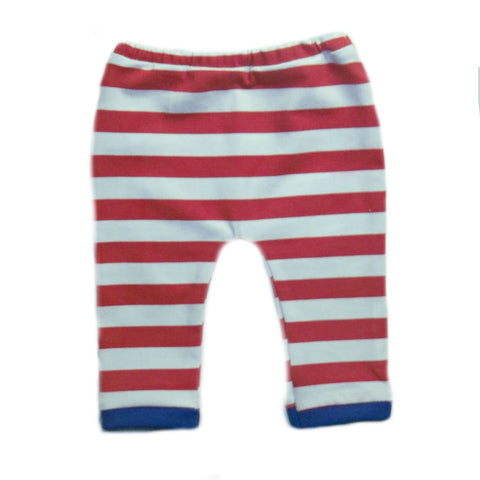 USA Red and White Striped Unisex Baby Leggings