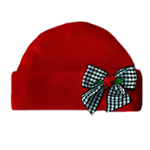 Baby Girls' Red Hat with Black Gingham Rose Bow