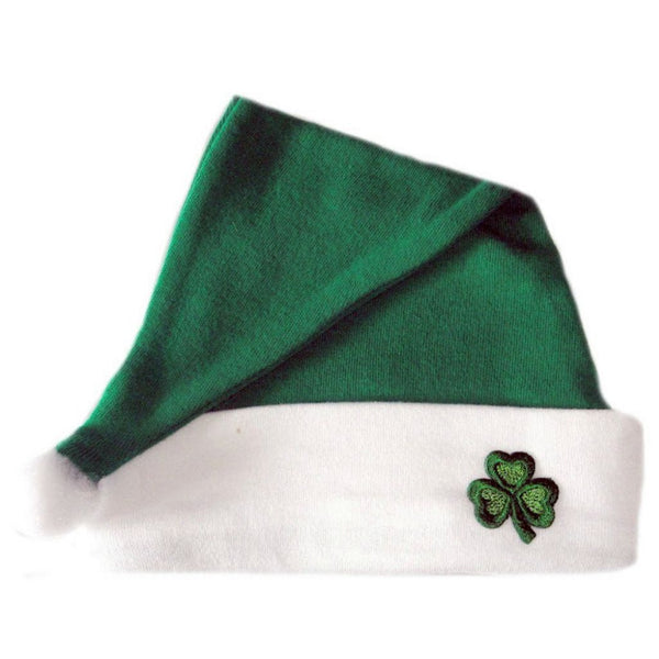 Unisex baby Irish Shamrock Christmas Santa Hat Sized for Preemie and Newborn Babies
