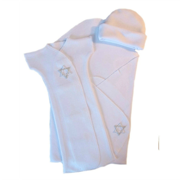 Jewish Unisex Baby White Gown Set with Silver Star of David