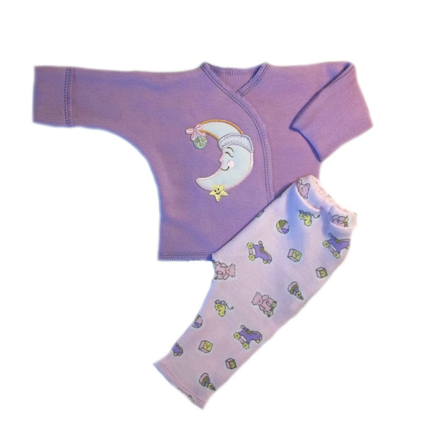 Newborn and Preemie Baby Girls' Smilin' Moon Two Piece Clothing Set