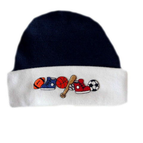 Blue and White Preemie and Newborn Hat with Sports Ball Applique