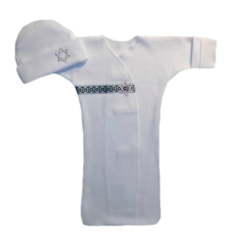Unisex Baby Jewish Star of David Gown and Hat for Preemie and Newborn Babies